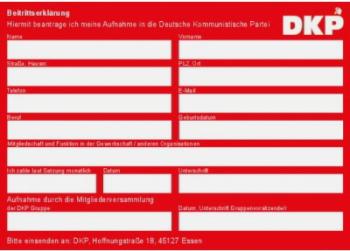 DKP Beitrittserklärung