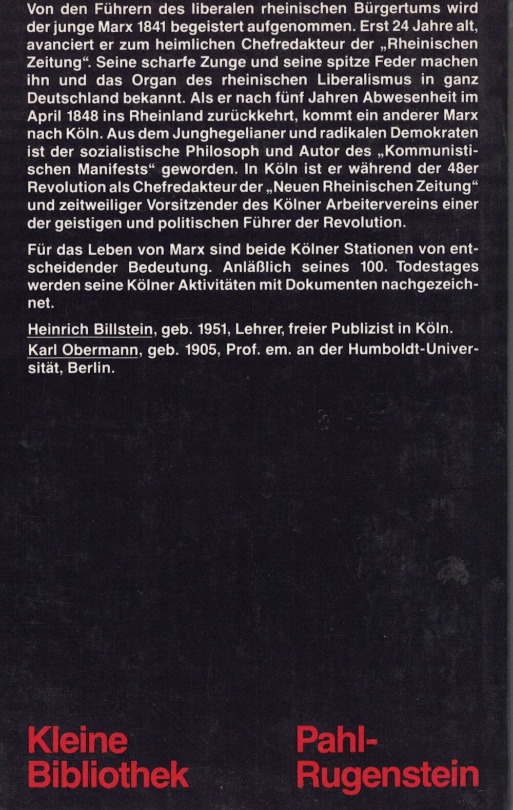 Heinrich Billstein, Karl Obermann - Marx in Köln