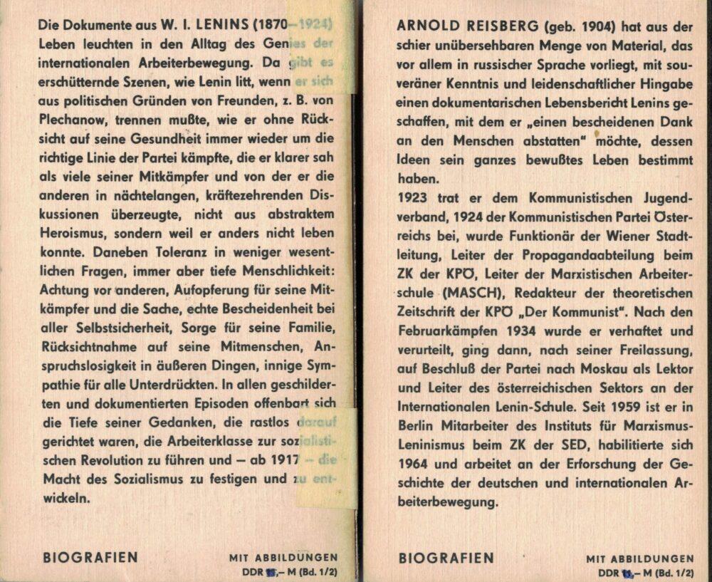 Lenin - Dokumente seines Lebens - 2 Bände - mit vielen Fotos und Dokumenten