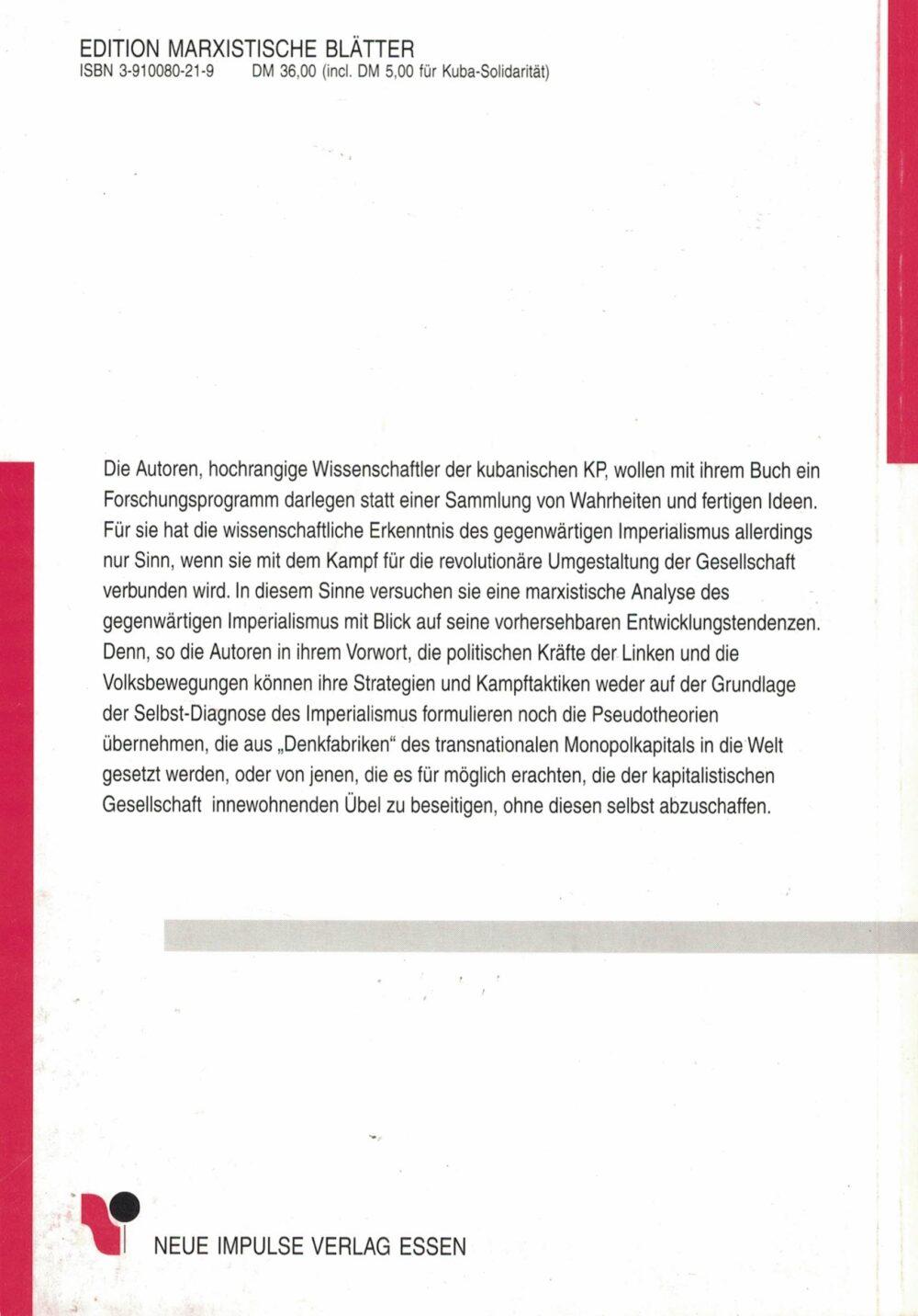 Kubanisches Autorenkollektiv - Imperialismus heute - Über den gegenwärtigen transnationalen Monopolkapitalismus
