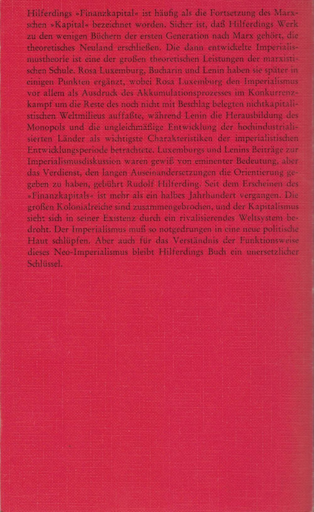 Rudolf Hilferding - Das Finanzkapital - Eine Studie über die jüngste Entwicklung des Kapitalismus