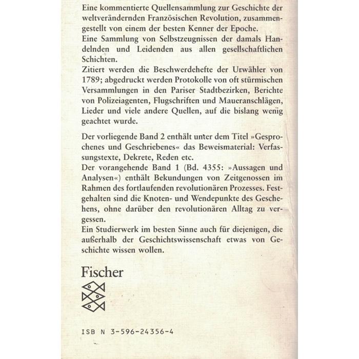 Walter Markow - Revolution im Zeugenstand - Frankreich 1789 - 1799 Band 2: Gesprochenes und Geschriebenes