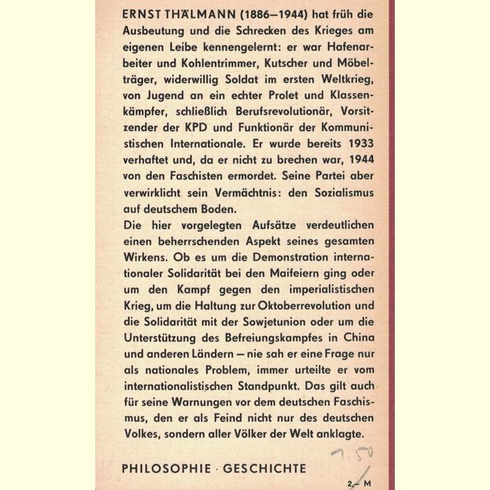 Ernst Thälmann - Über proletarischen Internationalismus - Reden und Artikel
