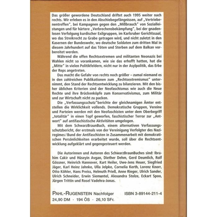 Anne Rieger/Ulrich Sander (Hrsg.), SchwarzBraun-Buch - Ein alternativer Verfassungsschutzbericht