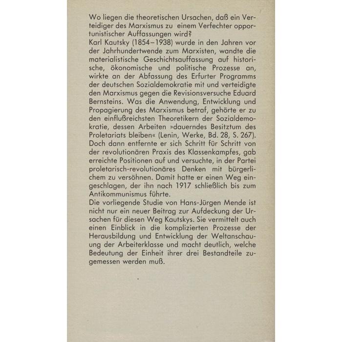 H. M. Mende, Karl Kautsky - vom Marxisten zum Opportunisten