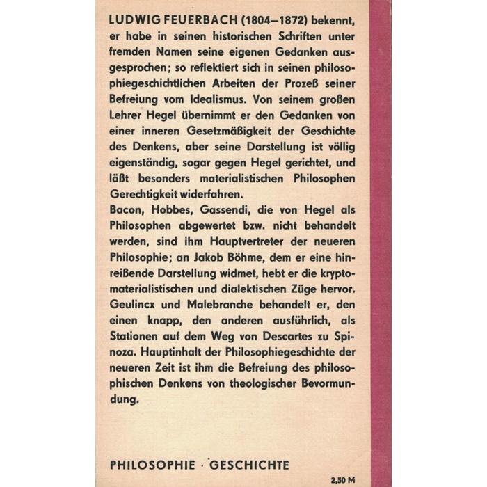 Ludwig Feuerbach, Geschichte der neuern Philosophie von Bacon bis Spinoza