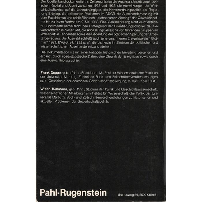 F. Deppe/W. Roßmann, Wirtschaftskrise, Faschismus, Gewerkschaften