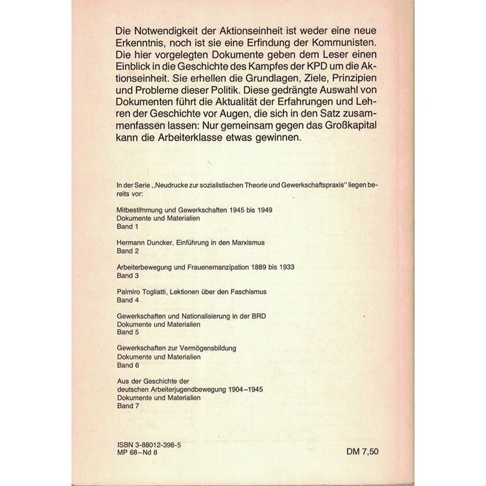 Dokumente - Zur Aktionseinheitspolitik der KPD 1919 - 1946